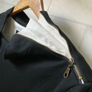 DREW - Size L two layer dress shirt Black/White